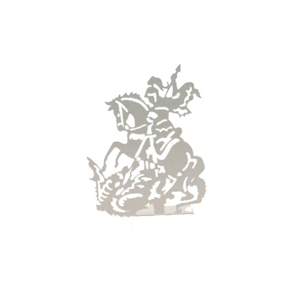 Adorno São Jorge Branco Fosco em Metal Vazado - 16x12 cm