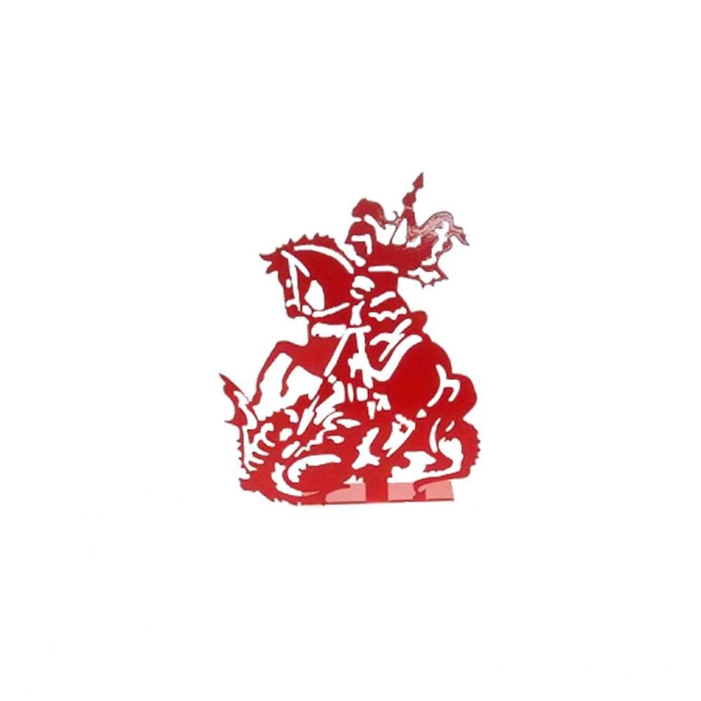 Adorno São Jorge Vermelho Fosco em Metal Vazado - 16x12 cm