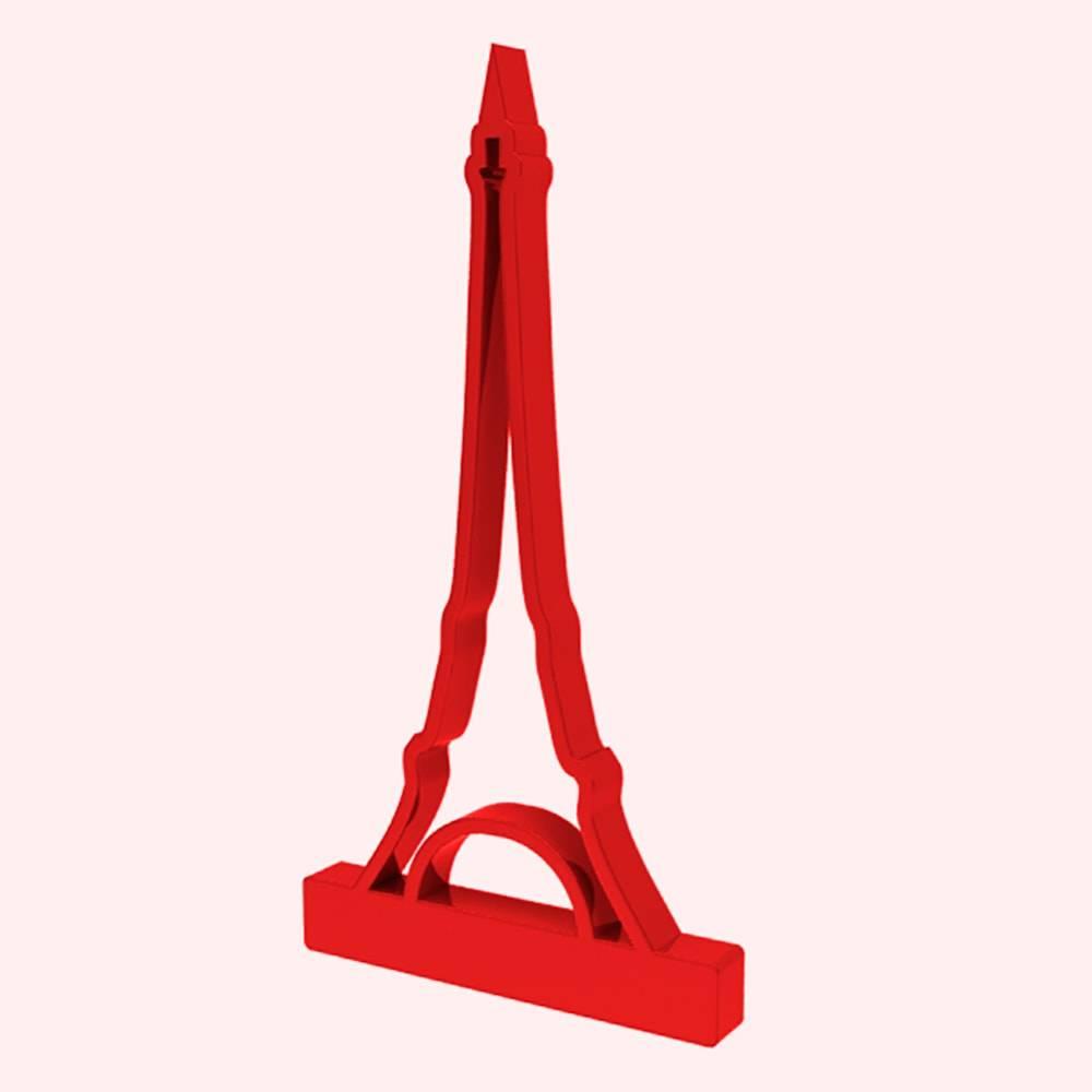 Adorno Torre Eiffel em MDF Laqueado Vermelho Vazado - 28x15 cm
