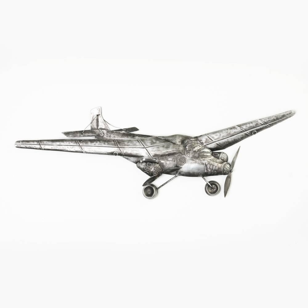 Aeronave Decorativa de Parede em Metal Grande - Lyor Classic - 74 cm