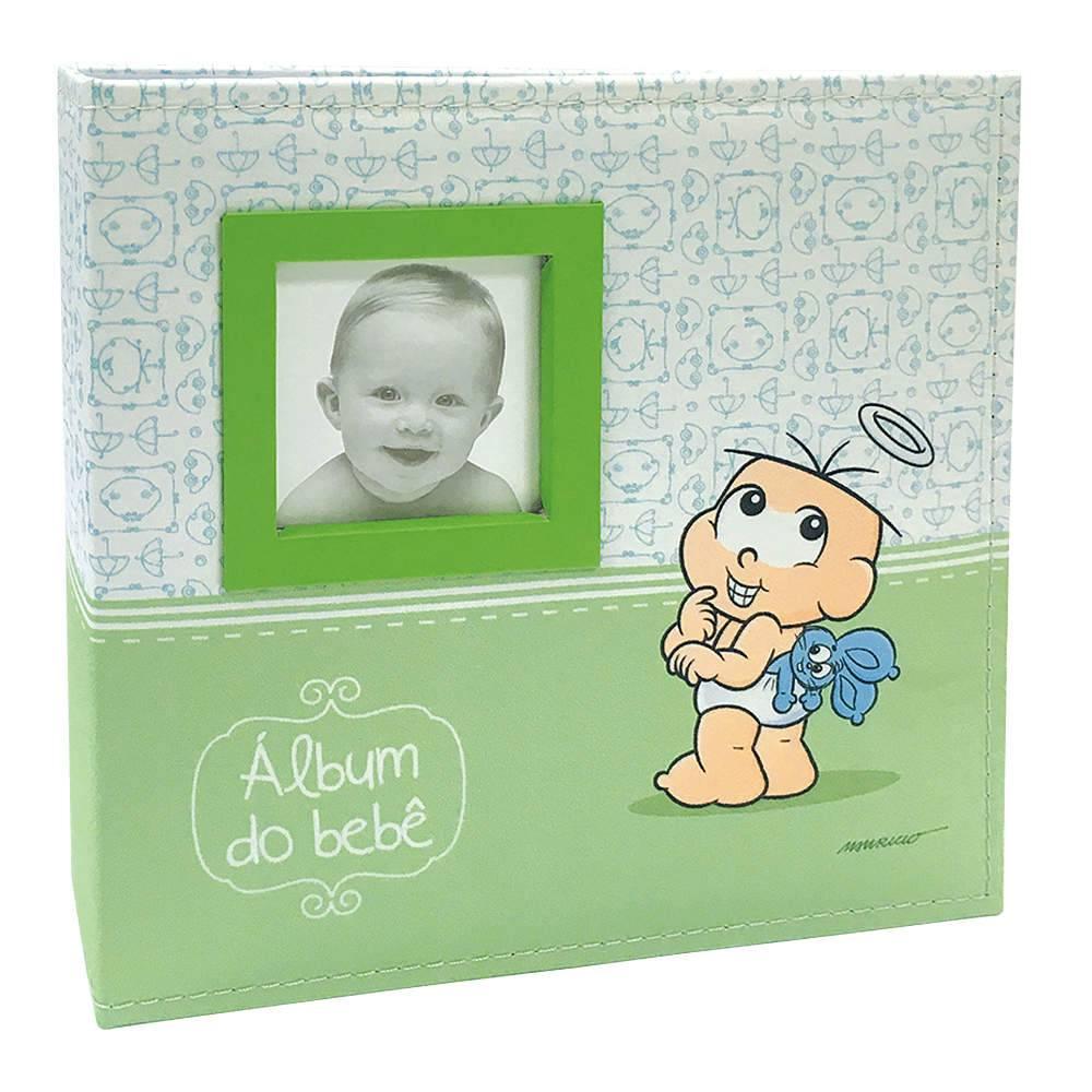 Álbum do Bebê Anjo Cebolinha com Caixa - 150 Fotos - Capa em Tecido - 26,5x25 cm