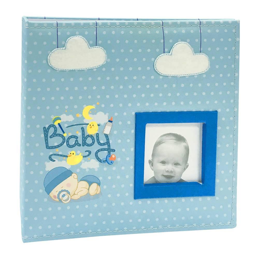 Álbum do Bebê Baby Azul com Caixa - 150 Fotos - Capa em Tecido - 26,5x25 cm