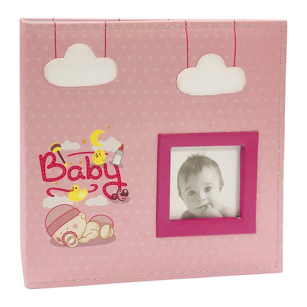 Álbum do Bebê Baby Rosa com Caixa - 200 Fotos 10x15 cm - Capa em Tecido - 26,5x25 cm
