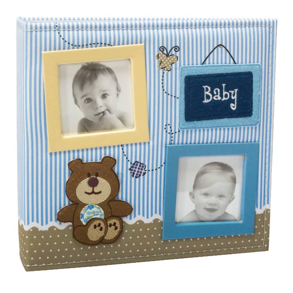 Álbum do Bebê Baby Ursinho Azul com Caixa -100 Fotos 15x21 cm - Capa em Tecido - 26,5x25 cm