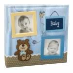 Álbum do Bebê Baby Ursinho Azul c/ Caixa 150 Fotos em Tecido