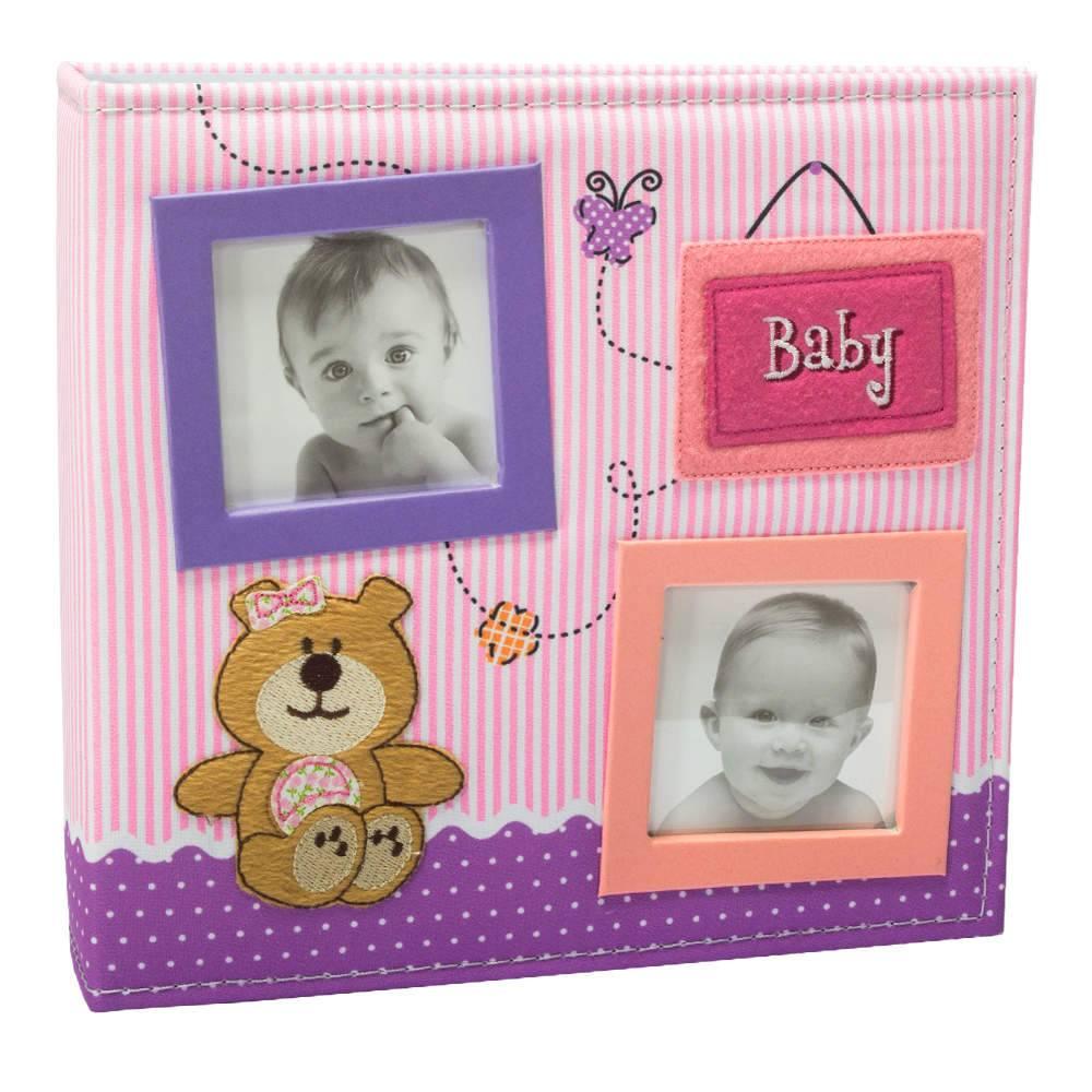 Álbum do Bebê Baby Ursinho Rosa com Caixa - 150 Fotos - Capa em Tecido - 26,5x25 cm