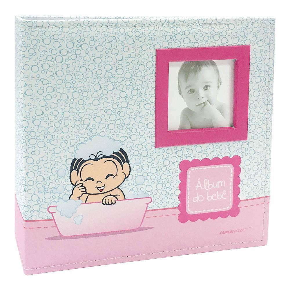 Álbum do Bebê Banho da Mônica com Caixa - 200 Fotos 10x15 cm - Capa em Tecido - 26,5x25 cm
