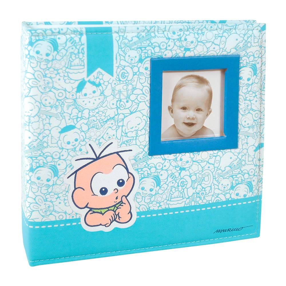 Álbum do Bebê Cebolinha com Caixa - 100 Fotos 15x21 cm - Capa em Tecido - 26,5x25 cm