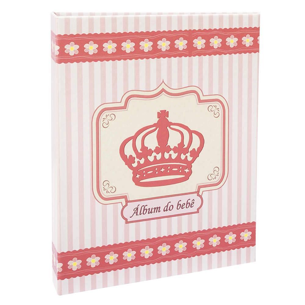 Álbum do Bebê Coroa Rosa - 60 Fotos 15x21 cm - com Ferragem - 25x20,5 cm