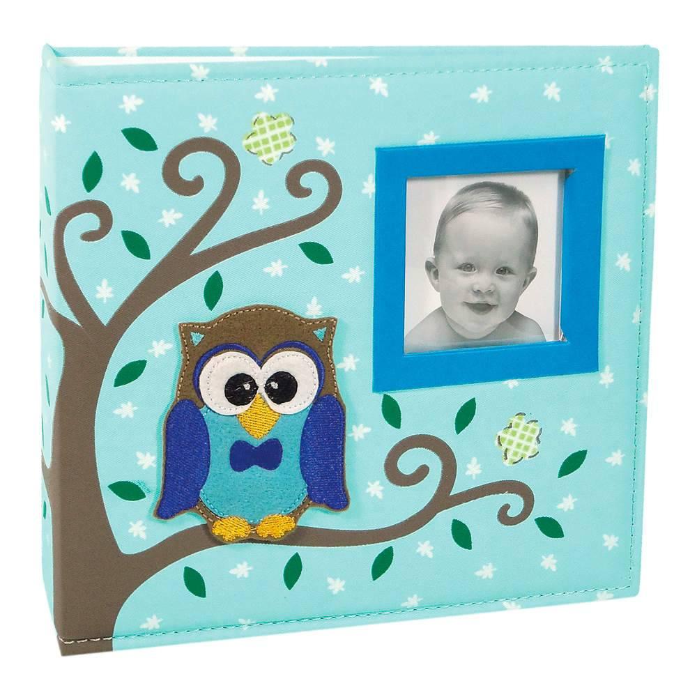 Álbum do Bebê Corujinha Azul com Caixa - 100 Fotos 15x21 cm - Capa em Tecido - 26,5x25 cm