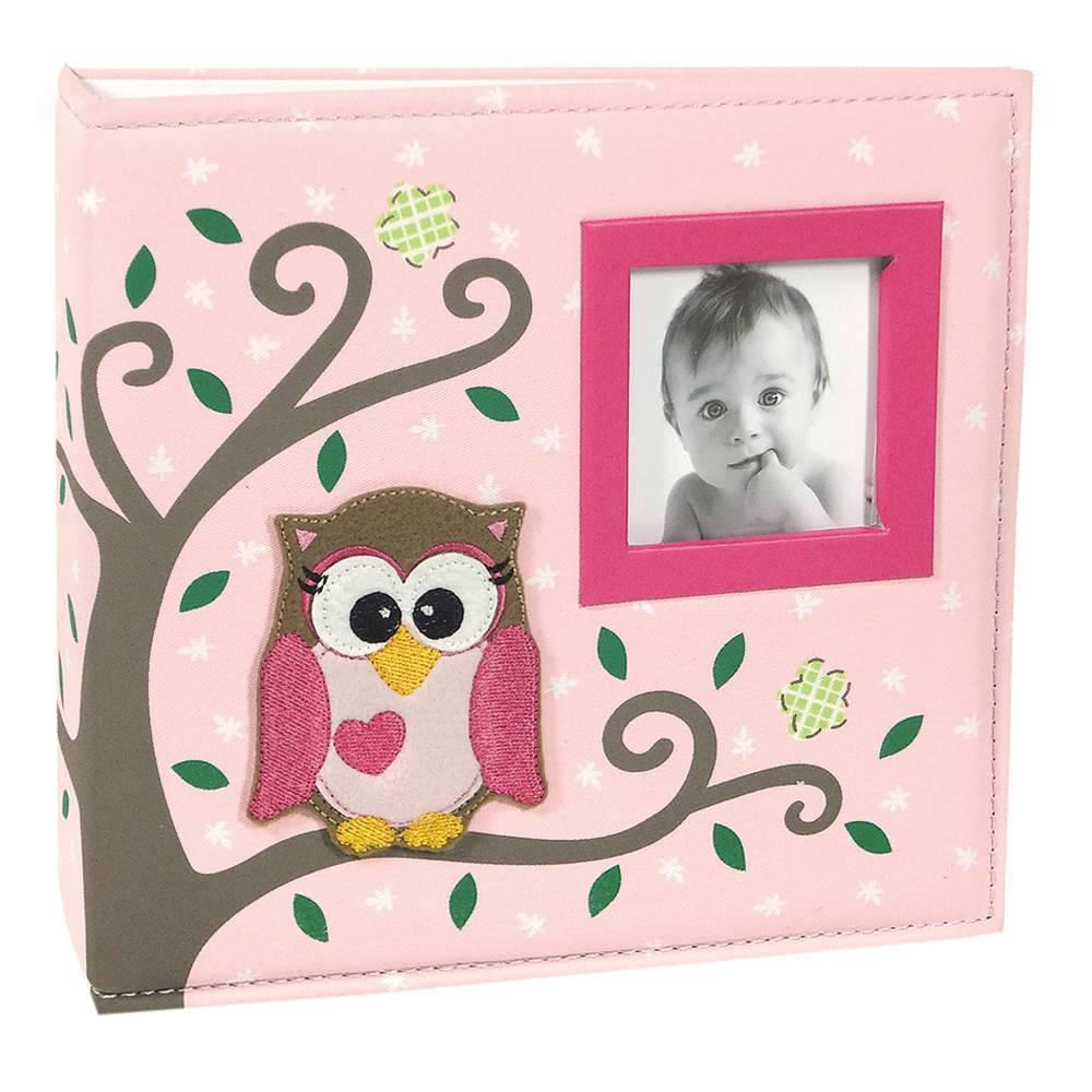 Álbum do Bebê Corujinha Rosa com Caixa - 100 Fotos 15x21 cm - Capa em Tecido - 26,5x25 cm