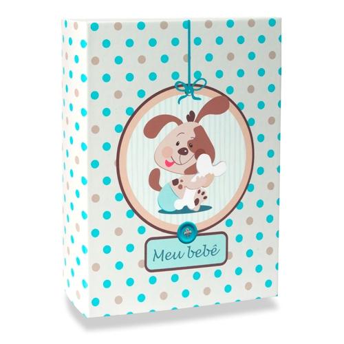Álbum do Bebê Dog Branco - 120 Fotos 10x15 cm - com Solda - 24,3x18 cm