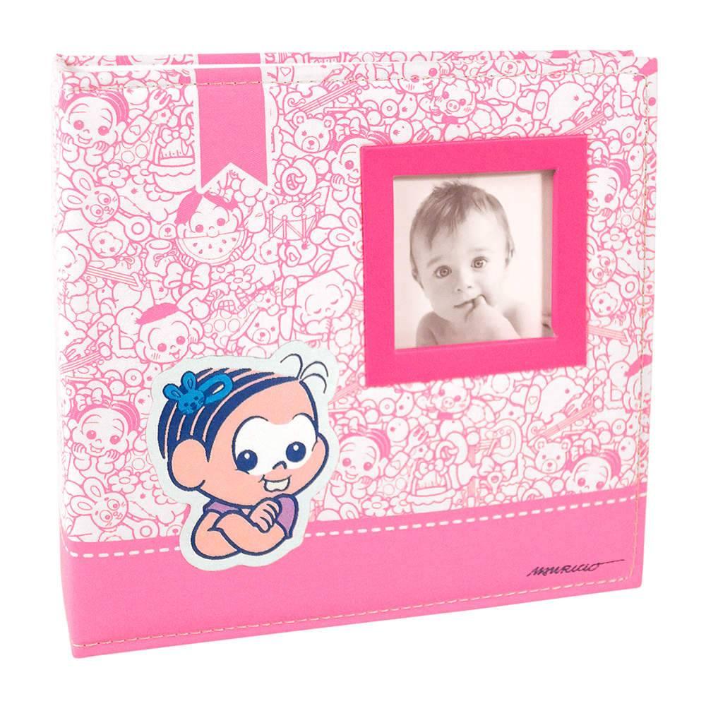Álbum do Bebê Mônica com Caixa - 200 Fotos 10x15 cm - Capa em Tecido - 26,5x25 cm