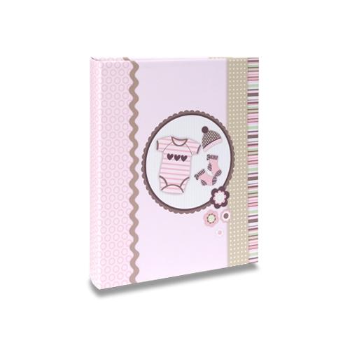 Álbum do Bebê Roupinhas de Menina - 60 Fotos 15x21 cm - com Caixa - 26x21,8 cm