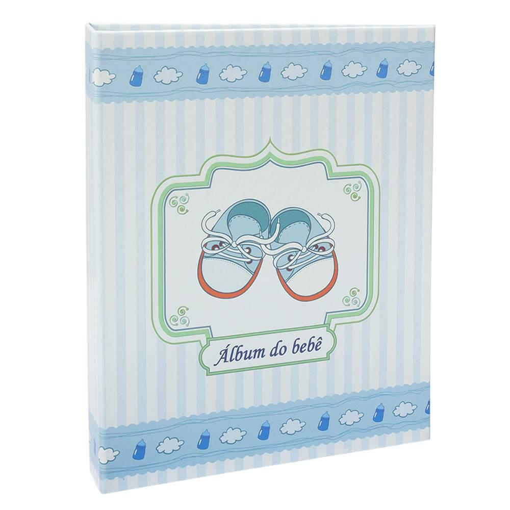 Álbum do Bebê Sapatinho Azul - 60 Fotos 15x21 cm - com Ferragem - 25x20,5 cm