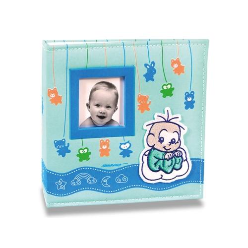 Álbum do Bebê Soninho do Cebolinha - 200 Fotos 10x15 cm - com Capa em Tecido - 24,5x23 cm