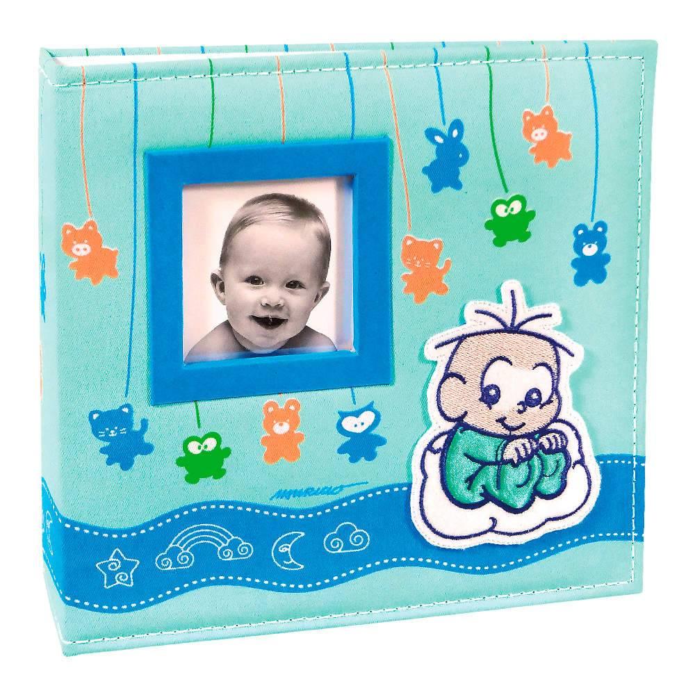 Álbum do Bebê Soninho do Cebolinha com Caixa - 200 Fotos 10x15 cm - Capa em Tecido - 26,5x25 cm