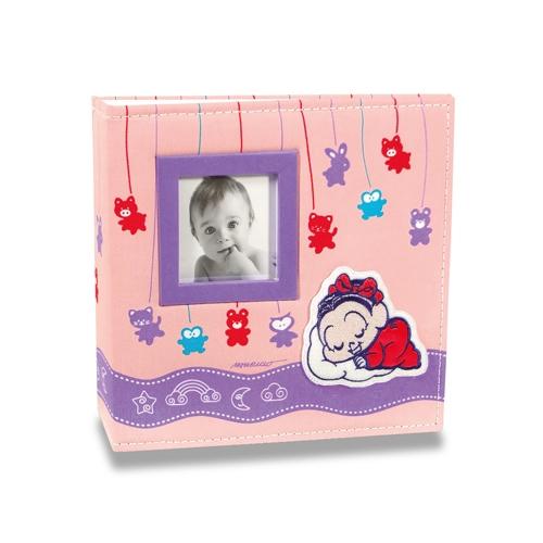 Álbum do Bebê Soninho da Mônica - 200 Fotos 10x15 cm - com Capa em Tecido - 24,5x23 cm
