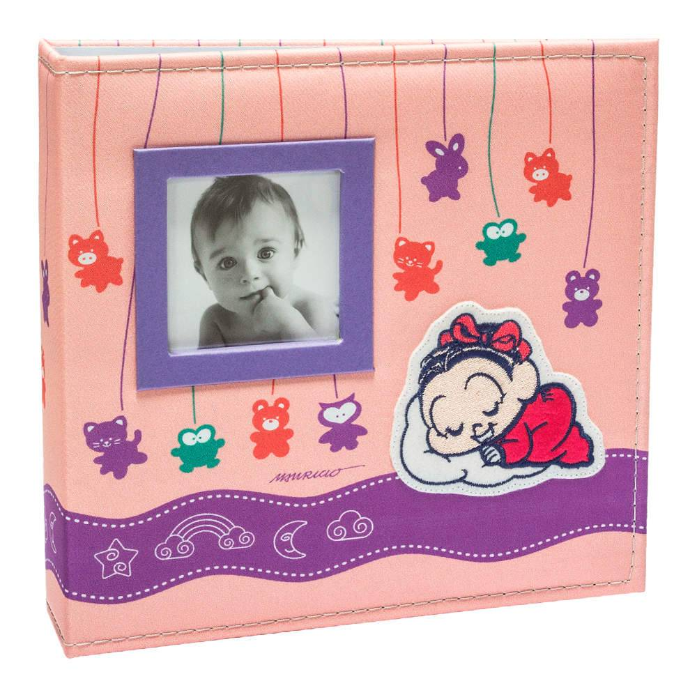Álbum do Bebê Soninho da Mônica com Caixa - 150 Fotos - Capa em Tecido - 26,5x25 cm