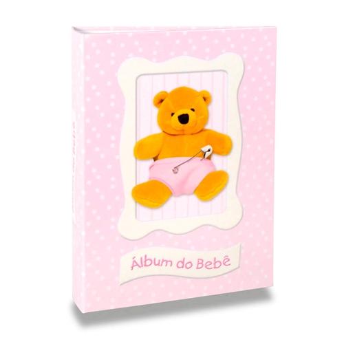 Álbum do Bebê Ursinho Rosa - 120 Fotos 10x15 cm - com Solda - 24,3x18 cm