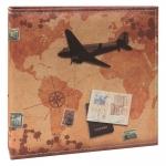 Álbum de Fotos Avião e Selos Marrom - 100 Fotos 15x21 cm - com Capa em Cetim - 25,5x24 cm