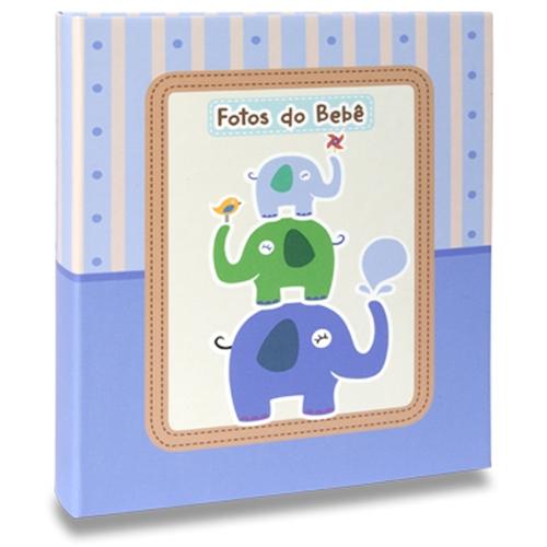 Álbum de Fotos Bebê Elefantinhos Azul - 120 Fotos 10x15 cm - 25x20,5 cm