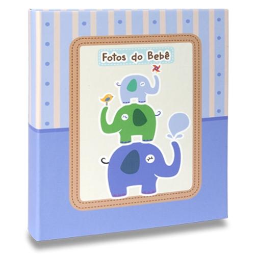 Álbum de Fotos Bebê Elefantinhos Azul - 60 Fotos 15x21 cm - 25x20,5 cm