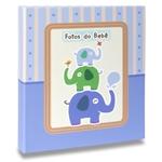 Álbum de Fotos Bebê Elefantinhos Azul - 60 Fotos 15x21 cm