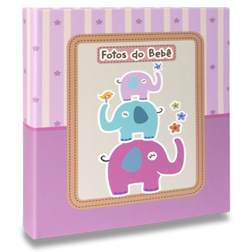 Álbum de Fotos Bebê Elefantinhos Lilás - 120 Fotos 10x15 cm - 25x20,5 cm