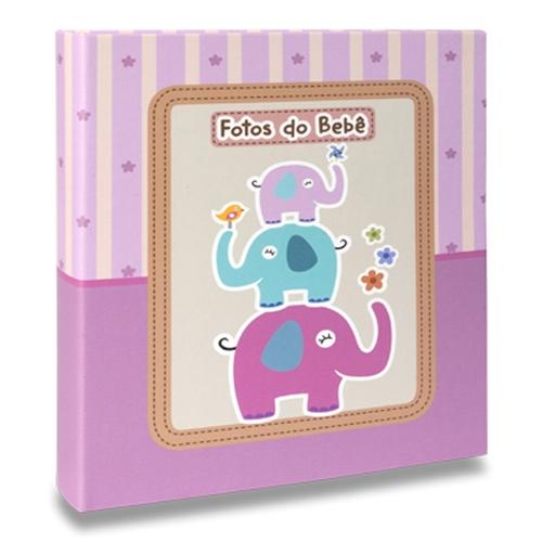 Álbum de Fotos Bebê Elefantinhos Lilás - 40 Fotos 13x18 cm - 25x20,5 cm