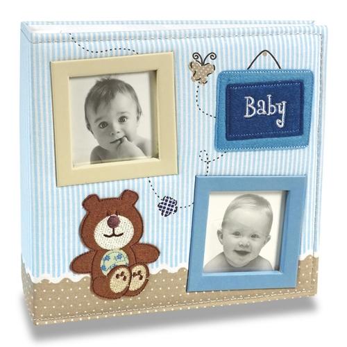 Álbum de Fotos Bebê Tecido Azul - 100 Fotos 15x21 cm - 24,5x23 cm