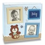 Álbum de Fotos Bebê Tecido Azul - 100 Fotos 15x21 cm