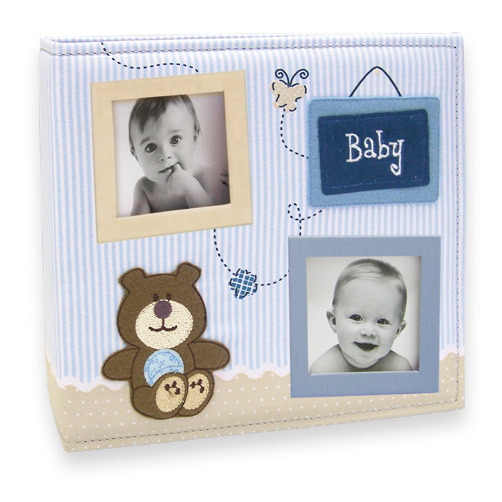 Álbum de Fotos Bebê Tecido Azul - 150 Fotos - 24,5x23 cm