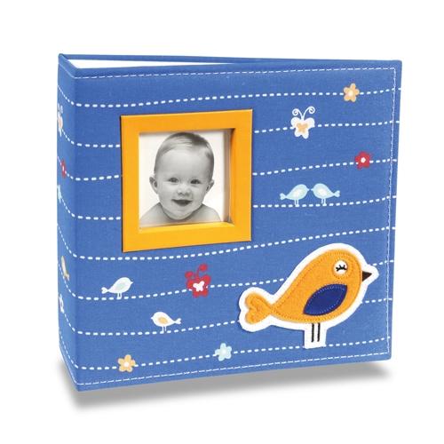 Álbum de Fotos Bebê Tecido Bird Azul - 200 Fotos 10x15 cm - 24,5x23 cm
