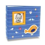 Álbum de Fotos Bebê Tecido Bird Azul - 200 Fotos 10x15 cm