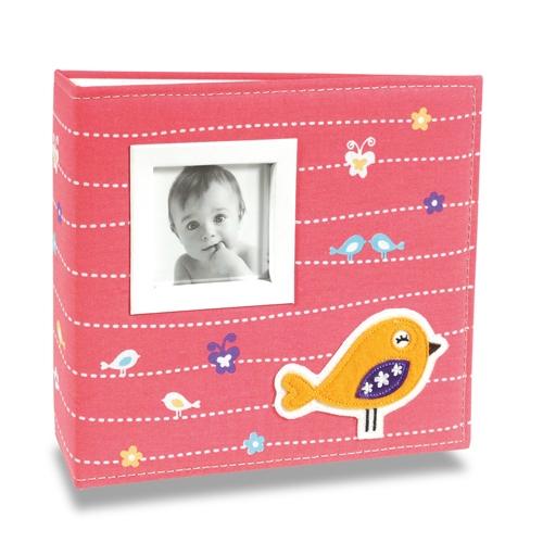 Álbum de Fotos Bebê Tecido Bird Rosa - 200 Fotos 10x15 cm - 24,5x23 cm