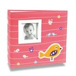 Álbum de Fotos Bebê Tecido Bird Rosa - 200 Fotos 10x15 cm