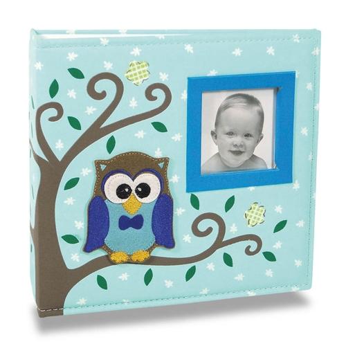 Álbum de Fotos Bebê Tecido Corujinha Azul - 100 Fotos 15x21 cm - 24,5x23 cm