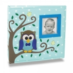 Álbum de Fotos Bebê Tecido Corujinha Azul - 150 Fotos
