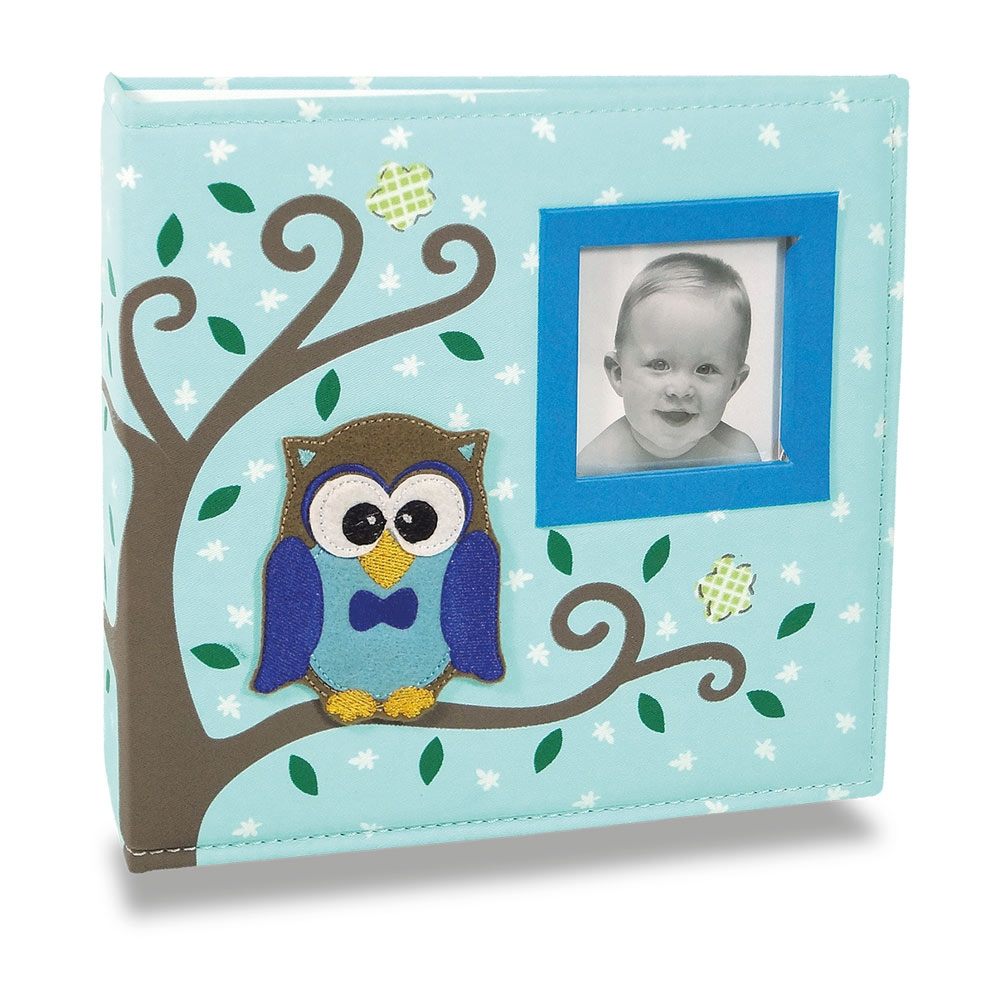 Álbum de Fotos Bebê Tecido Corujinha Azul - 150 Fotos - 24,5x23 cm