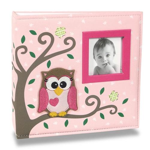 Álbum de Fotos Bebê Tecido Corujinha Rosa - 100 Fotos 15x21 cm - 24,5x23 cm