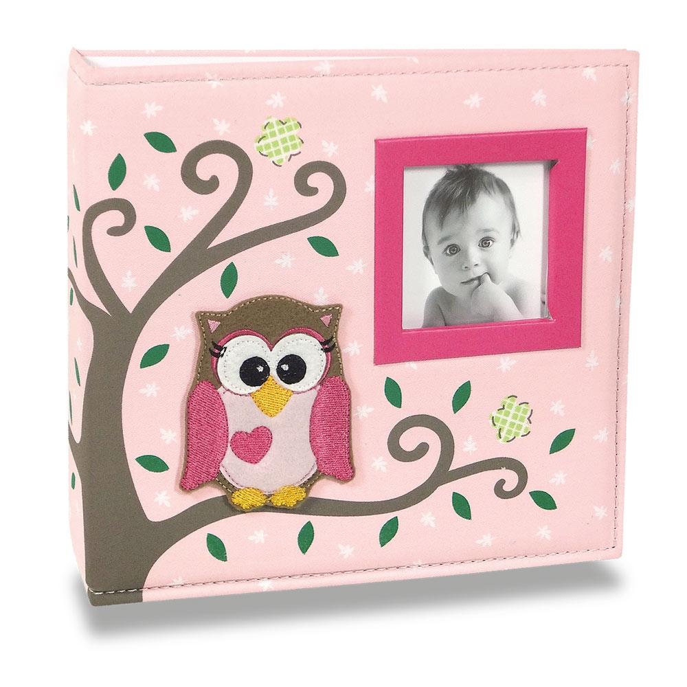 Álbum de Fotos Bebê Tecido Corujinha Rosa - 150 Fotos - 24,5x23 cm