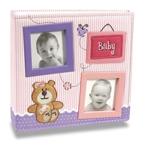 Álbum de Fotos Bebê Tecido Rosa - 100 Fotos 15x21 cm - 24,5x23 cm