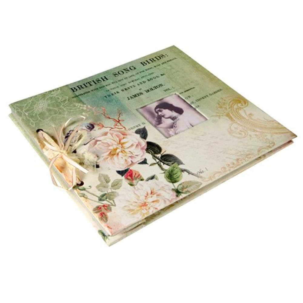 Álbum de Fotos British Song Birds Verde Revestido em Tecido - 34x32 cm