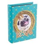 Álbum de Fotos Cachorro Pug 80 Fotos 10x15 cm em Madeira - 18x14 cm