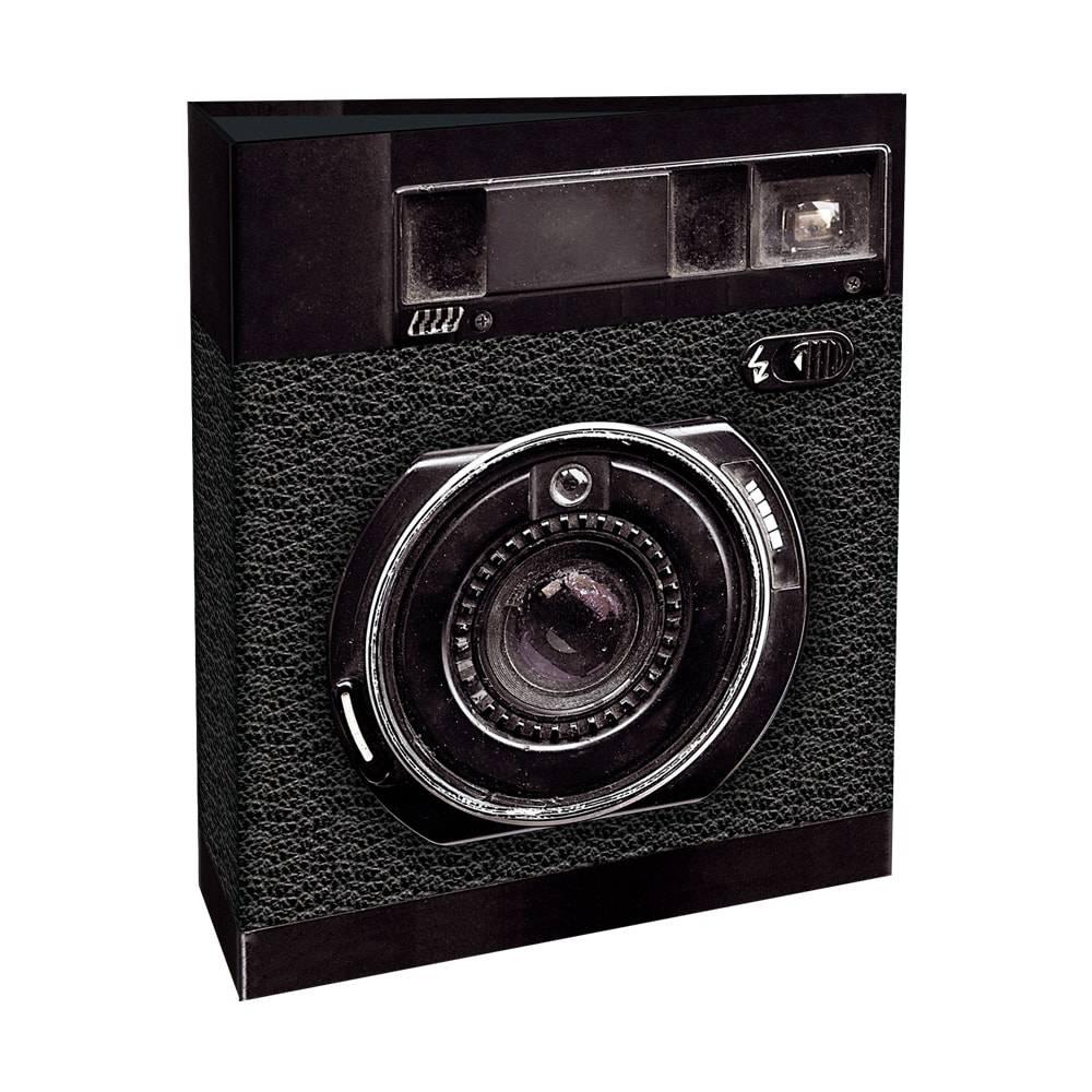 Álbum de Fotos Câmera Fotográfica - 80 Fotos 15x21 cm - Preto - 23x18,4 cm