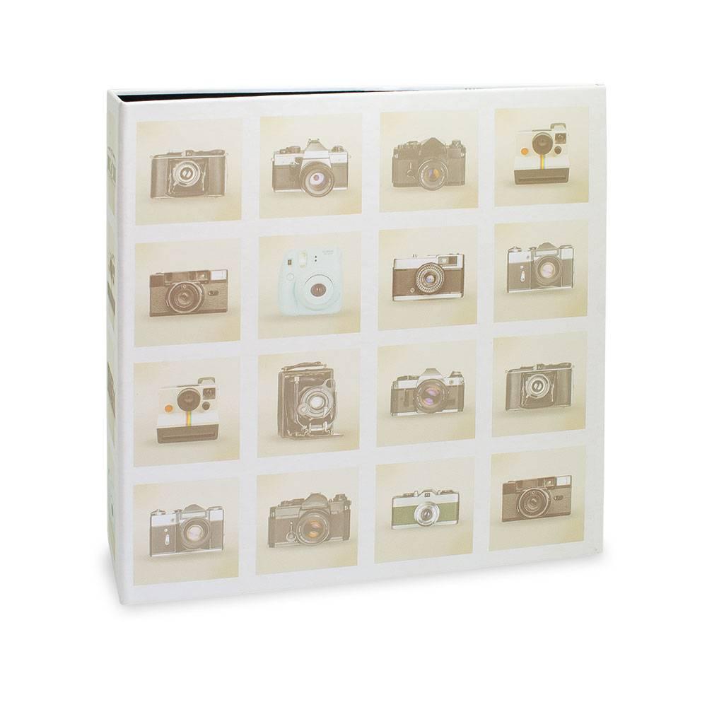 Álbum de Fotos Câmeras Retrô - 80 Fotos 15x21 cm - Bege - 23x18,4 cm