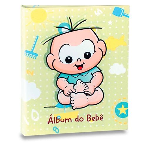 Álbum do Bebê Cebolinha Fundo Verde - 120 Fotos 10x15 cm - 25x20,5 cm