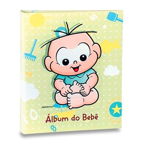Álbum do Bebê Cebolinha Fundo Verde - 60 Fotos 15x21 cm - 25x20,5 cm