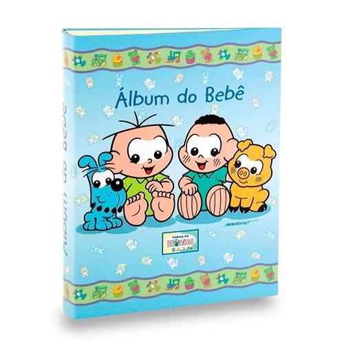 Álbum do Bebê Cebolinha e Cascão Azul - 40 Fotos 13x18 cm - 25x20,5 cm